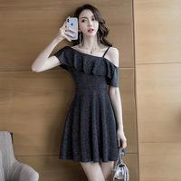 Plus Size Sale 2019 New Korean Sexy Shoulder exposed A shaped With Slender Waist And Buttock wrapped Dress Crossing The Country