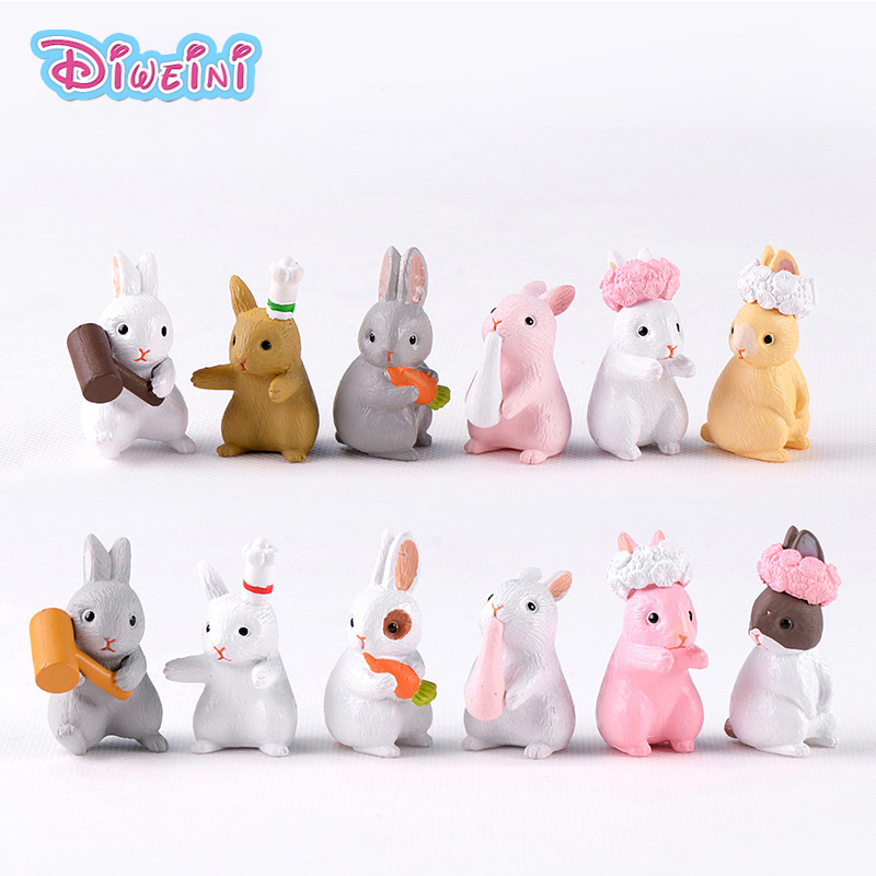 3pc/lot Cartoon Rabbit action Figures animal model Family Miniature Figurine DIY pvc Decoration hot set toys for children gift(China)
