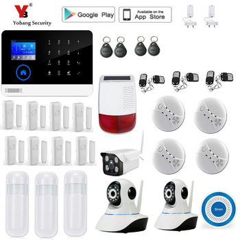 Yobang bezpieczeństwa System alarmowy Wi-Fi GSM s WIFI + GSM + GPRS Wifi automatyki GSM System alarmowy w domu ochrony GPRS System alarmowy Wi-Fi GSM tanie i dobre opinie yobang security YB1030528 Kontrola aplikacji Drzwi Okna Czujnik wireless 110V-240V 180*130*15mm 900 1800 850 1900mhz 433mhz