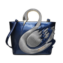 New Swan Women Patent Leather Handbags Large Capacity Shopping Bag Luxury
