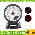 Aceite Temp Gauge 60mm D * fi CR Avance de Aceite Indicador de Temperatura del Coche con Sensor de Cara Blanca Auto Gauge Meter Car/Rojo LED de Luz Blanca