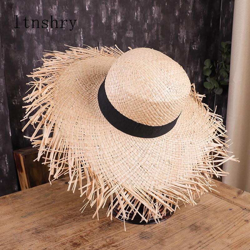 Summer Sun Hat With A Wide Brim Women Ribbon Beach Holiday Ladies Raffia Straw Hat Fringe Fashion Women Beach Hats Gorra Hombre
