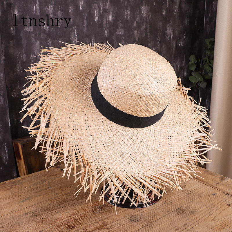 Summer Sun Hat With A Wide Brim Women Ribbon Beach Holiday Ladies Raffia Straw Hat Fringe Fashion Women Beach Hats Gorra Hombre