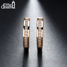 Effie Queen Cute Romantic Style Earrings Jewelry Gold -color Paved with AAA Cubic Zircon Stud Earrings for Women DDE34