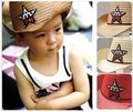 54cm Korean boys and girls sun hat / cowboy pentacle children straw hats, three-color, 5pcs/lot, Free Shipping