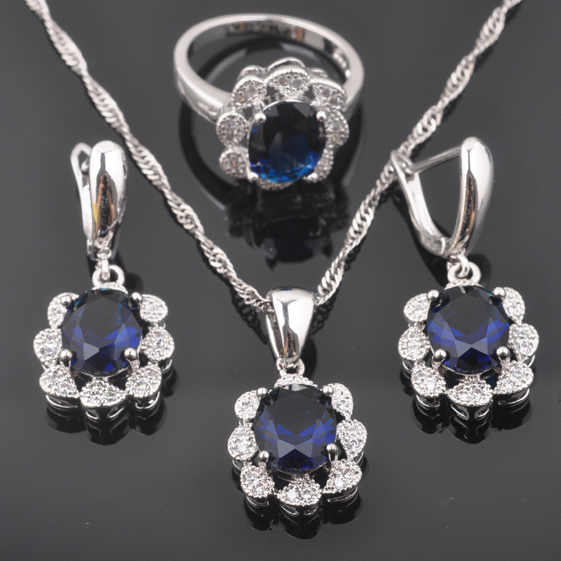 Brautschmuck Sets Ehrlich Fahoyo Fabulous Blau Kristall Weißen Zirkonia Frauen 925 Sterling Silber Schmuck Sets Ohrringe/anhänger/halskette/ringe Qz0399