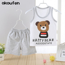 okoufen 2017 new baby boy clothes Children summer suit boys vest cotton baby kids clothing sets sleeveless cartoon body suit
