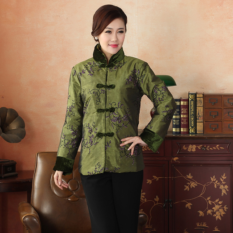 Winter New Hot Sale Dark Green Overcoat Women Satin Cotton Wadded Jacket Chinese Style Elegant Clothing Print Size S-XXL PF029 ...