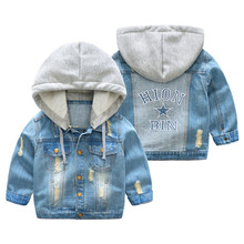 Handsome boy jackets coats hooded children kids spring&autumn baby boys denim jackets fashion coats kids outwear high quality