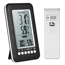 Indoor/Outdoor LCD Digital Temperature Humidity Meter Wireless Thermometer Hygrometer with Max Min Value Display Transmitter benetech digital lcd display thermo hygrometer gm1361 2 5 inch separate temperature and humidity meter without box
