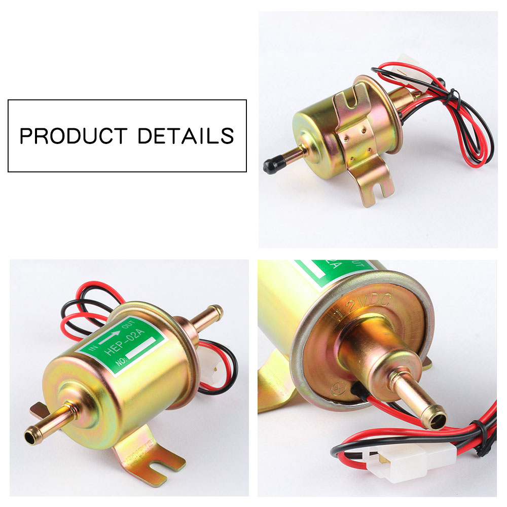 Image 4 - Fuel Pump 12v Electric Petrol Pump Low Pressure Bolt Fixing Wire Diesel HEP 02A Set Metal Gold Silver 8mm FP009-in Fuel Pumps from Automobiles & Motorcycles