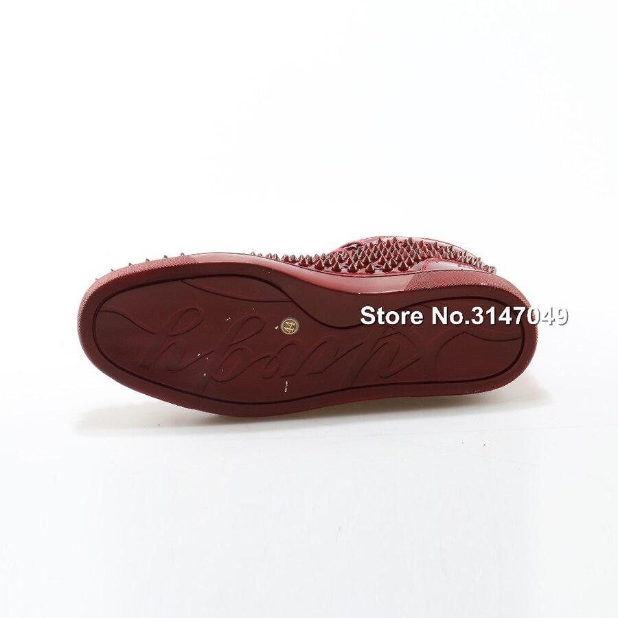 OKHOTCN 2018 nouveaux hommes chaussures décontractées en cuir verni rouge crampons chaussures cloutées étoiles haut de gamme Rivet mocassins à lacets Zapatos Hombre - 6