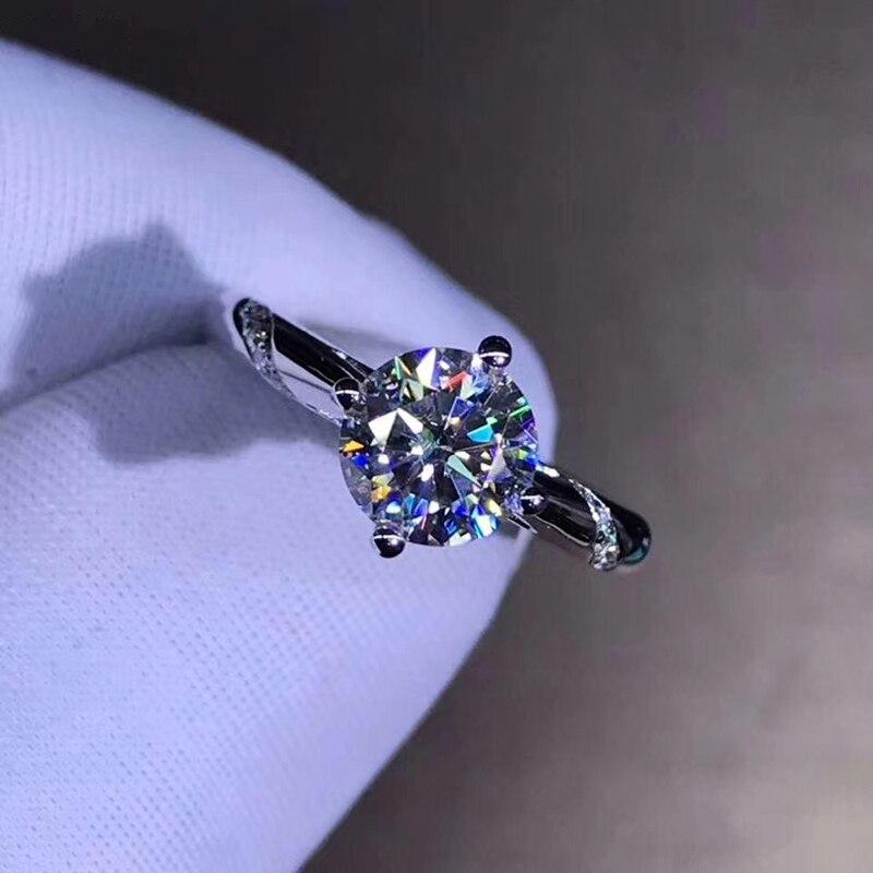 14K Weiß Gold 1ct 2ct 3ct Moissanite Luxus Diamant Ring schmuck Hochzeit Party Engagement Diamond Ring-in Ringe aus Schmuck und Accessoires bei  Gruppe 3
