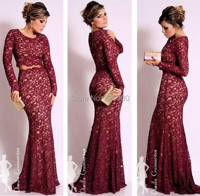 2 piece long sleeve lace prom dress