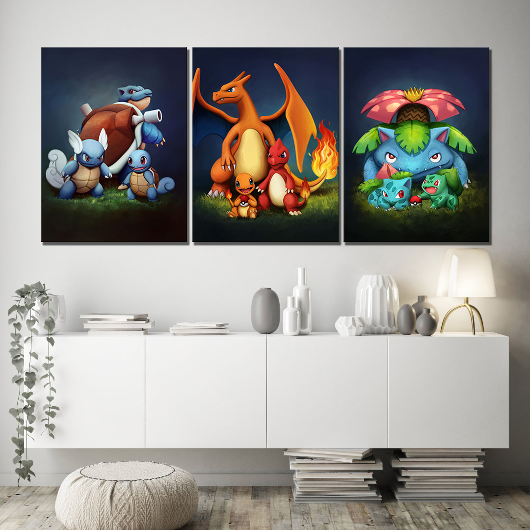 3 Piece Pokemon Pocket Monster Anime Poster Blastoise Charmander Bulbasaur Cartoon Wall Picture for Children Room Wall Decor 2