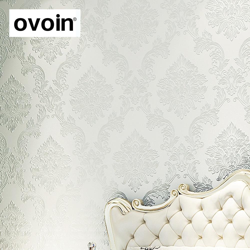 Glitter modern textured embossed floral damask wallpaper roll flock non woven wall paper for - Cream flock wallpaper ...