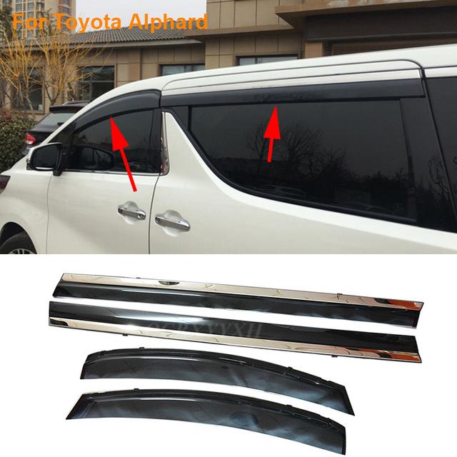 Coche Stylingg Toldos Refugios 4 unids/lote Viseras Ventana Para Toyota Alphard 2010-2016 Sol protección contra la Lluvia Cubre Las Pegatinas