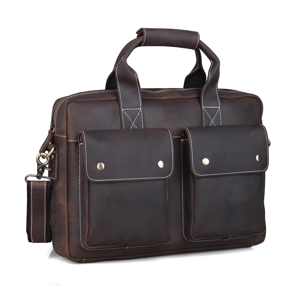 TIDING Genuine Leather Briefcase Business Tote Bag 14 Laptop Notebook Bag Retro Style Document Bag Men Brown 1123 a6 small business notebook retro style