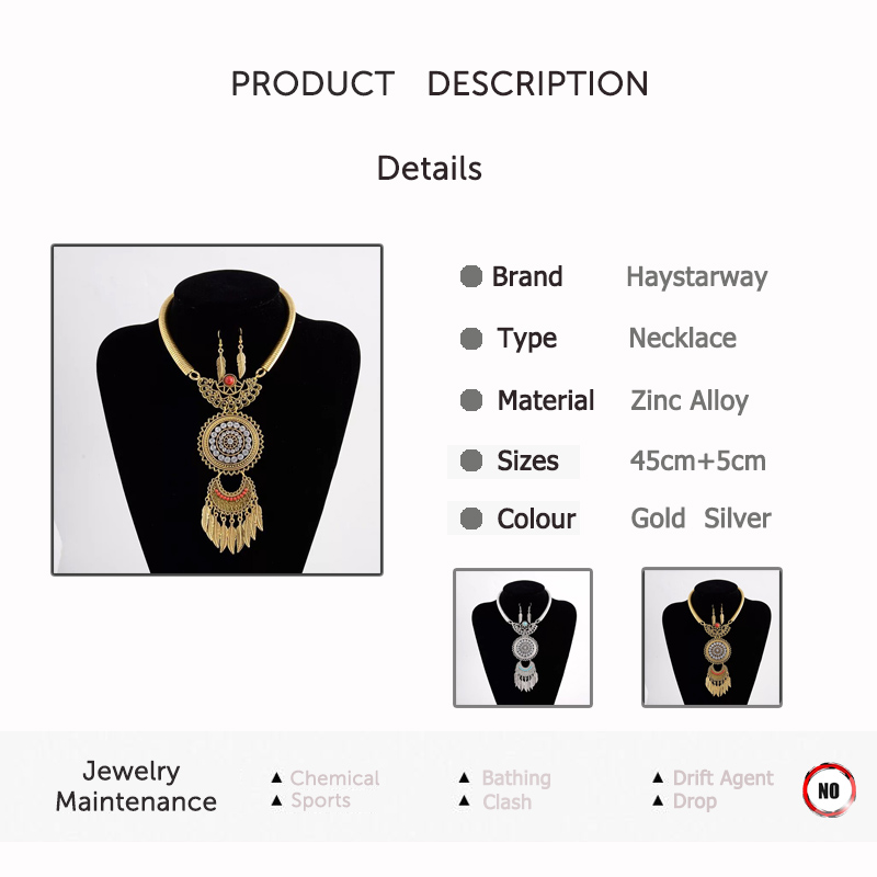 Ethnice Boho Necklace For Women Bohemia Necklace Pendent Jewelry Sets CLOVER JEWELLERY