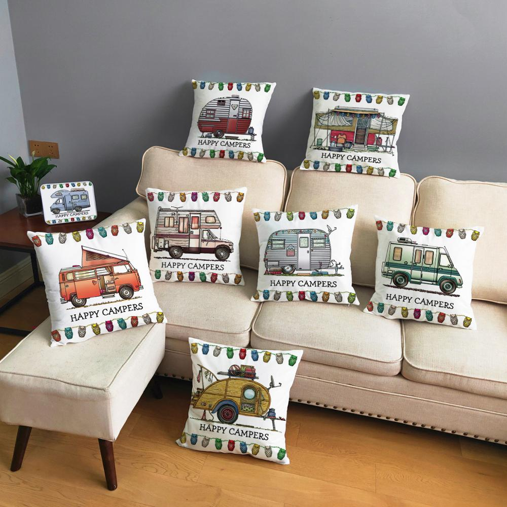 Happy Campers Car Soft Short Plush Cushion Cover Print Pillow Covers 45*45cm Throw Pillow Case Sofa Home Decor Owl Pillowcase