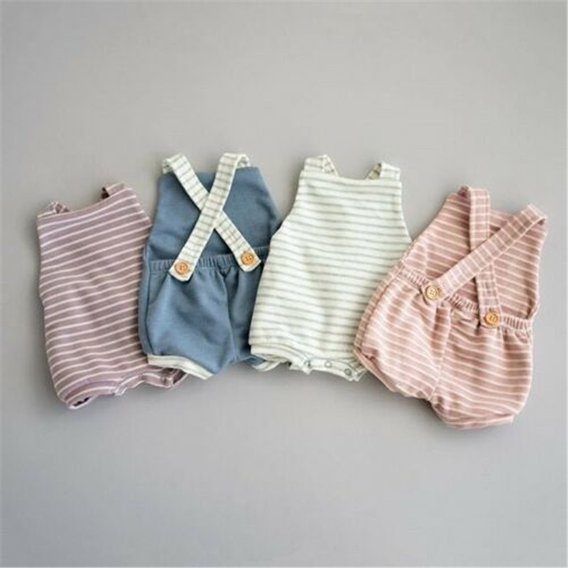 Fashion Baby Boy Girls Striped Romper Summer Toddler Cute Sleeveless Backless Jumpsuits Kid Lovely Unisex Newborn Infant Clothes