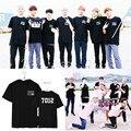 KPOP BTS Bangtan Мальчики ЮНГ КУК Jimin V k поп SUGA T 2016 K-POP Классический Черный Хлопок Белый С Коротким Рукавом футболки