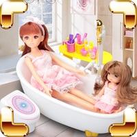 Nieuwe Collectie Gift Baby Speelgoed Poppenhuizen Douche Pretend Game Speelgoed Voor Meisjes Water Bad Speelgoed Bad Simulaton Elektrische Educatief