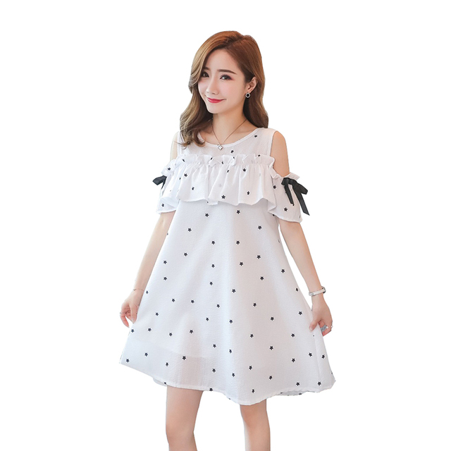 2019 de maternidad verano moda estrellas impresión dulce Shoulderless vestido volantes Collar dulce de las mujeres embarazadas de gasa vestido de
