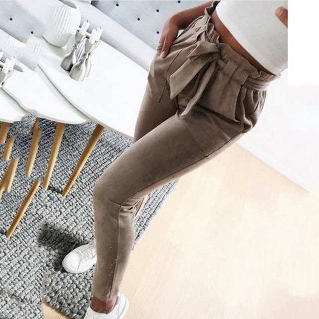 Fashion Women Slim Pencil Pants Mid Waist Pants Summer Bow Sashes Sweatpants Bandages Elastic Long Female Trousers Autumn New