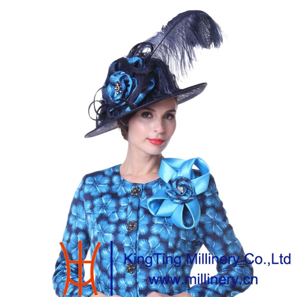 cc3022b52cd Kueeni Women Hat Wedding Hats White Formal Hats Elegant New Big Brim Large  Size Feathers High Noble Special Designer Wedding Hat-in Fedoras from  Apparel ...