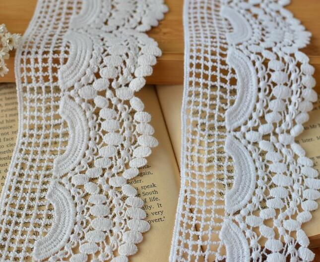 """4/"""" White Ivory Floral Venice Lace Trim Fringe Edge Guipure Trimming By Yardage"""