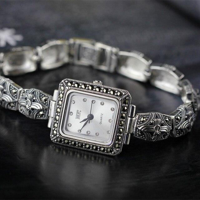 Vintage Thai argent produits nouveauté thaïlande authentique S925 argent Sterling personnalité seulement beauté rétro montre Bracelet