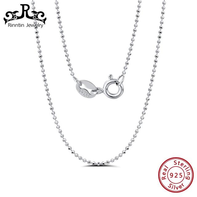 Rinntin 925 Sterling Silver 45CM Slim Thin Bead Necklace Fashionable Korean Clavicular Chain Female Jewelry Best Gift TSC24