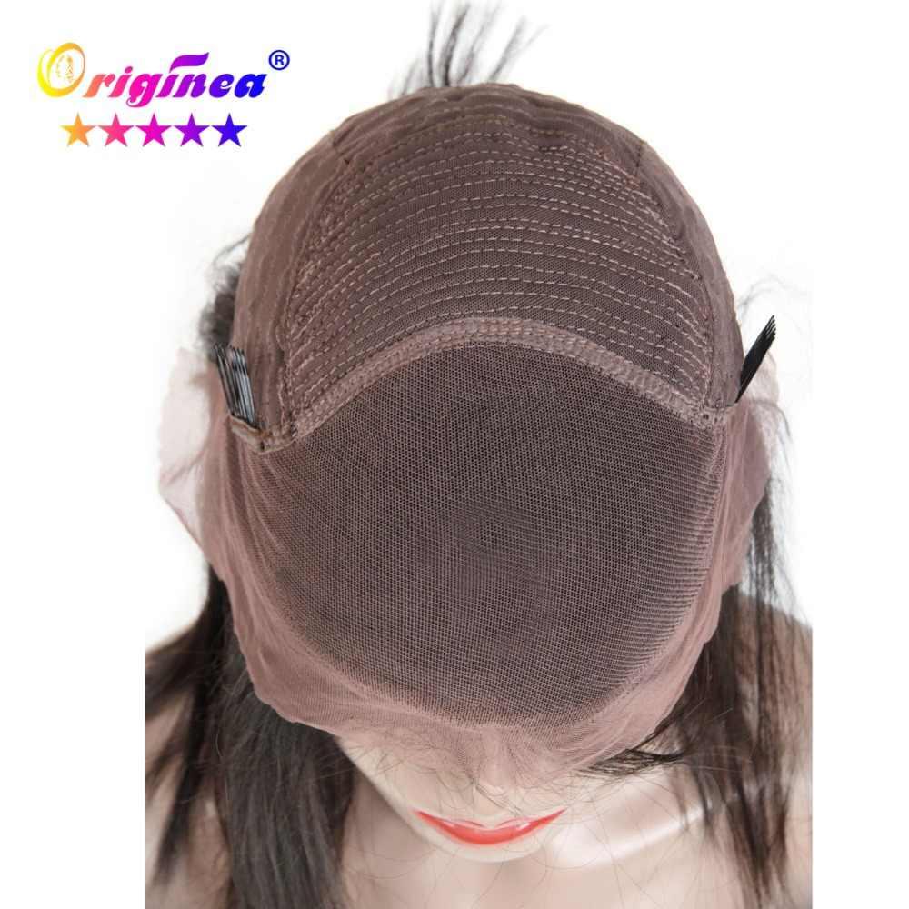 Оригинальный кружевной передний парик из человеческих волос, предварительно сорванный с волосами младенца, Прямой полный конец бразильских волос remy короткий парик-Боб натуральный черный