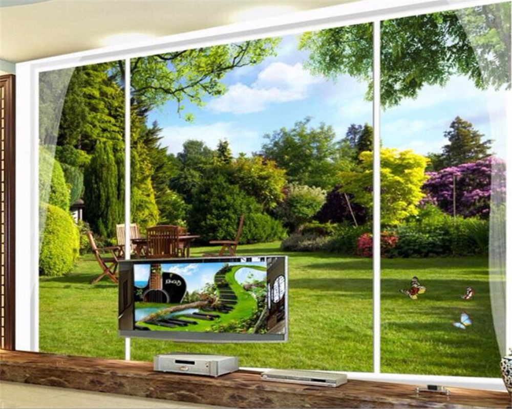 Beibehang Custom 3d Wallpaper Windows Outdoor Garden View Stereo HD Photo  Mural Bedroom Living Room Background Wall Paper In Wallpapers From Home ...