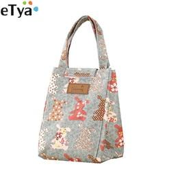 ETya Мультяшные милые сумки для обедов для женщин и детей теплоизоляционные Большие женские сумки сумка-холодильник для еды и пикника вмести...