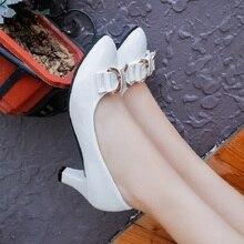 ฤดูใบไม้ผลิและฤดูใบไม้ร่วงที่มีแฟชั่นรองเท้าหญิงเดี่ยวโบว์ในผู้หญิงแหลมรองเท้าส้นสูง