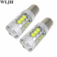 WLJH 2x 1200lm 12V 24V LED 1156 P21W BA15S S25 Projector Lens Car DRL Parking Lamp