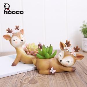 Image 2 - Roogo 植木鉢家の装飾アクセサリー置物多肉植物ポットバルコニー現代のマルチ鹿 annimal 樹脂工芸