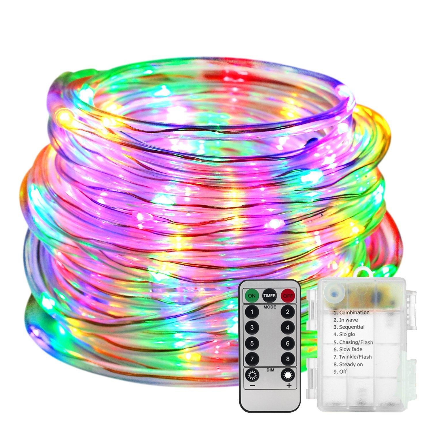 HENYNET LED Rope Lights Battery Operated Waterproof 33ft String Lights with Remote Timer Firefly Lights Dimmable Fairy Lights