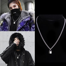 Women Jewelry Silver Color PadLock Pendant Necklace Brand New hip hop Stainless Steel Rolo Cable Chain Necklace Friendship(China)