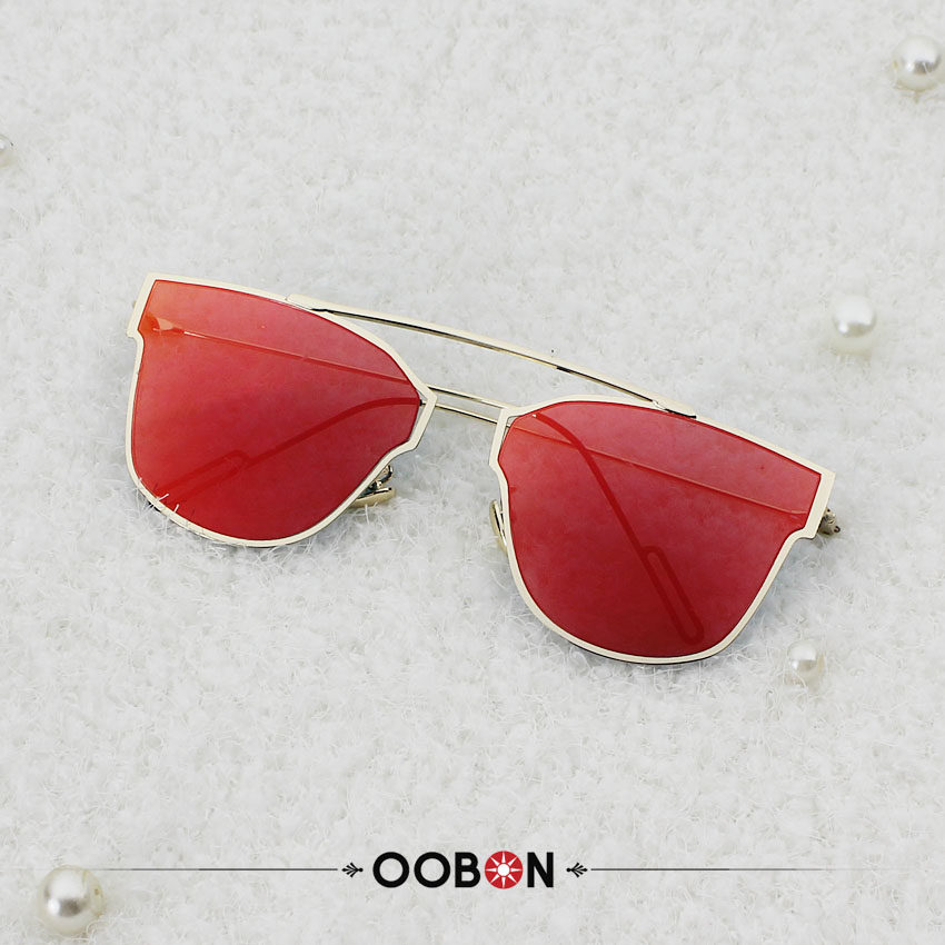 OOBON Newest 2017 Fashion Women s Sunglasses Single Nose Design Flat Lens Brand Full Metal Frame