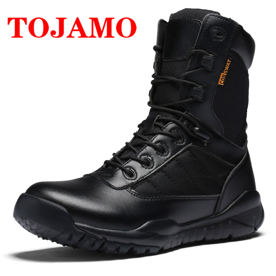 TOJAMO Tactical Desert Boots Men Army Combat Military Ankle Cow Suede Leather Men Shoes Moccasins Chaussure Homme Hiking Boots men s desert military boots touch guy cow suede genuine leather ankle martin boot