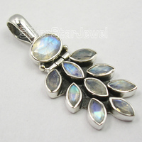 Muiltiple Choices Chanti International Pure Silver BLUE FIRE RAINBOW MOONSTONE OXIDIZED GRAPES Pendant 1 1/2 inches Variation