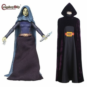 Cosplaydiy Barriss Offee Jedi Knight Cosplay Costume With Cape Adult Women Costumes For Halloween Carnival Custom Made image