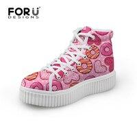 2016 Cao Top Mùa Xuân Plataforma Giày Cô Gái Pink Màu Sắc Phụ Nữ giày Zapatos Mujer Phụ Nữ Nêm Nền Tảng Giày Ren Up Casual giày