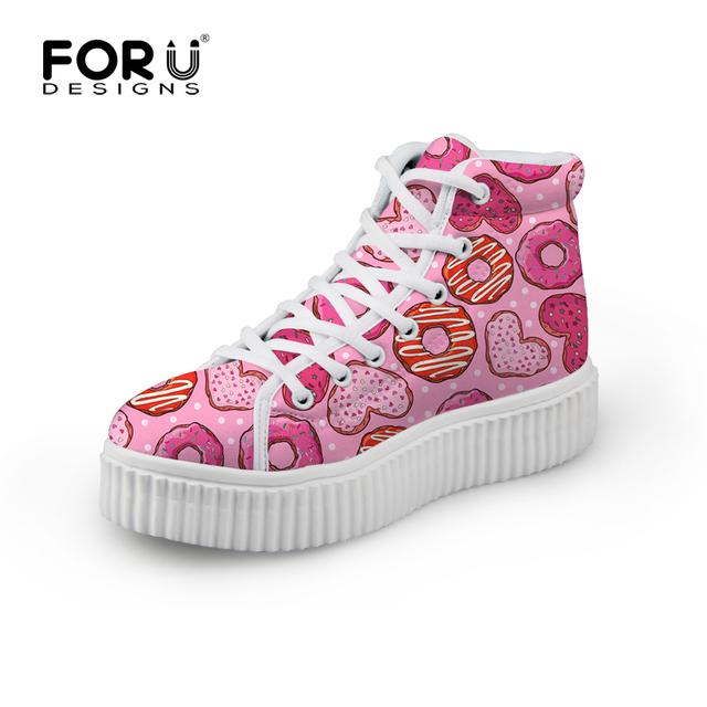 2016 Primavera Plataforma de Alta Superior Zapatos de Las Niñas de Color Rosa de Las Mujeres zapato Zapatos de Mujer Mujeres Plataforma de la Cuña de Zapatos de Encaje Hasta Casuales zapatos
