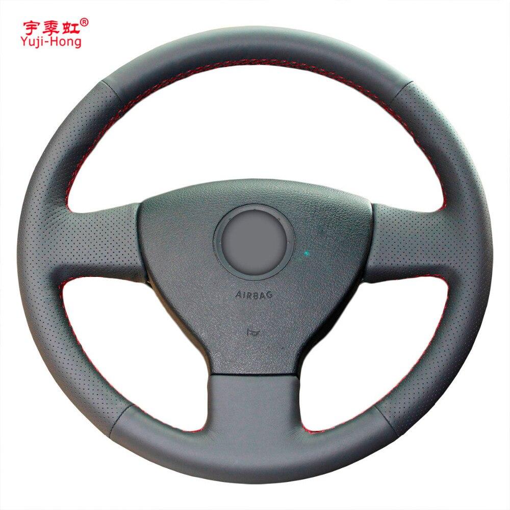Yuji Hong Top Layer Genuine Cow Leather Car Steering Wheel Covers Case for Volkswagen VW Bora