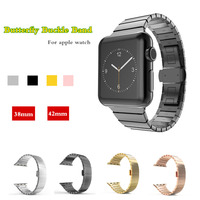 Newest Luxury Metal Strap For Apple Watch Band 38mm 42mm Stainless Steel Link Bracelet Butterfly Loop
