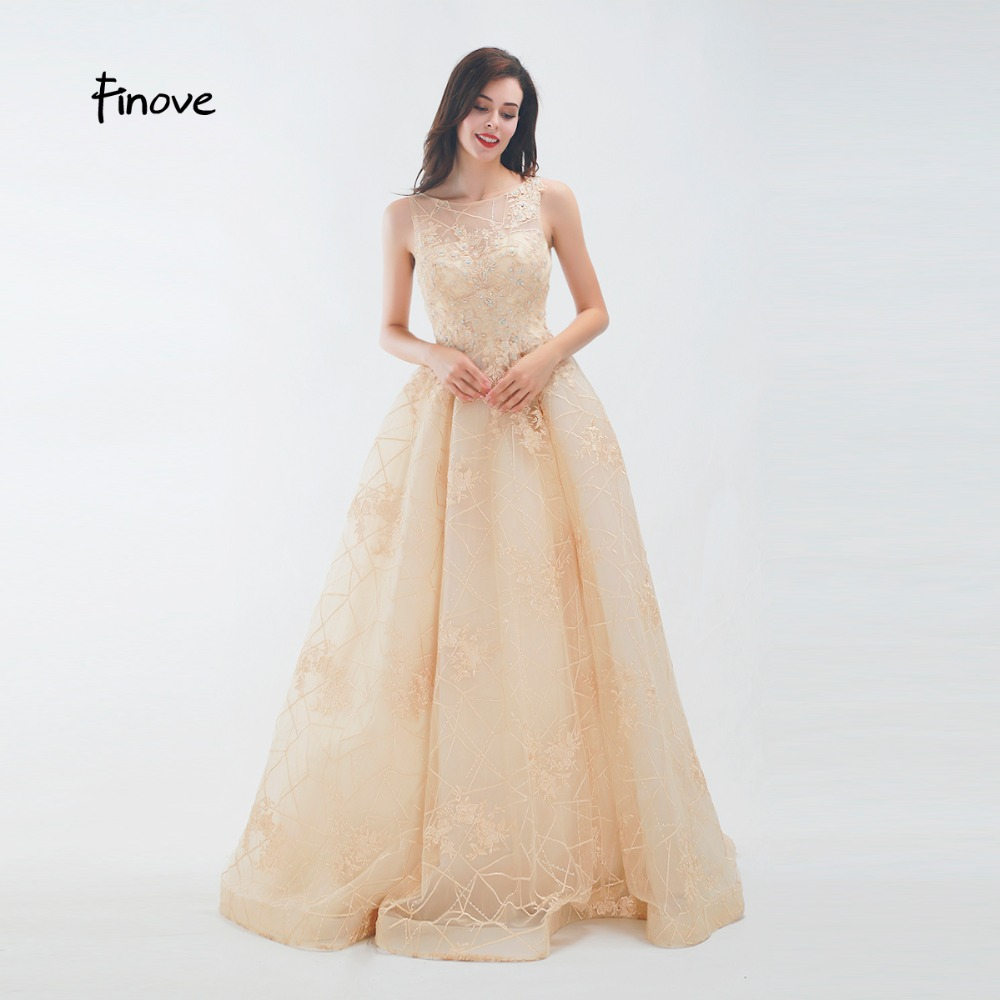 Finove Prom Dress 2019 Elegant O Neck Ruched Backless Chmapgne Appliques Embroidery Formal Party Woman Dress